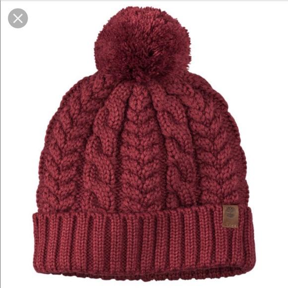 Timberland Pom Pom Knit Winter Hat Maroon Beanie. M 5bf87080e944ba97e51618a7 5f4b858e253